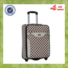 Durable Grid PU High Quality Material Metal Handle Silver Lock Trolley Case