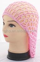 Soft Rayon Snood hat Hair Net Crochet Hair Net cap pink