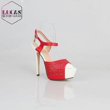 H979-H527 high heel carve fasteners platform woman sandal