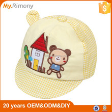 Custom embroidery plaid cotton baby cap/caps and hats