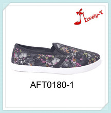 2015 woman slip on mesh upper handmade spring flower casual flat shoes