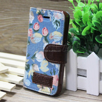 2014 popular retro flower pattern Jean fashion flip cell phone leather case for iphone 5s with stand & slot