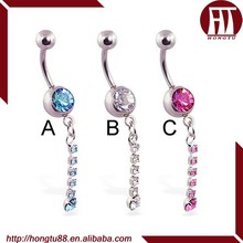HT Fancy Belly Button Ring with Single Jeweled Dangle Navel Piercing Jewelry
