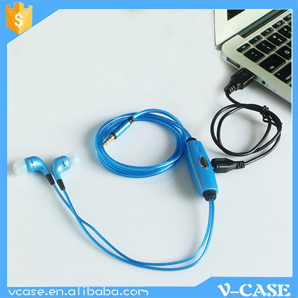 Newest Cable Flashing Led Light Earphone / Led Headphone With 10mm ...