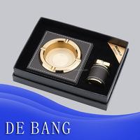 Square zinc alloy cigarette metal ashtray set cover leather