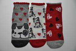 Women ankle socks. Shoe Liner, 3D fancy rib top