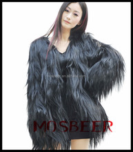 winter natural fur coats raw goat skins women black sheep coat