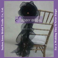 C181B black organza ruffled wedding wholesale cheap chair covers