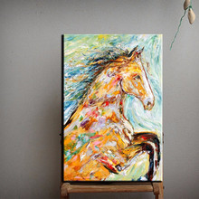 Light Colors Professional Artist 100% Handpainted Wall Artwork Frameless Oil Painting Horse Pictures For Wall Decoration Art