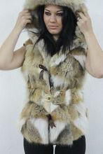 Coyote Fur Vest Hooded Belt