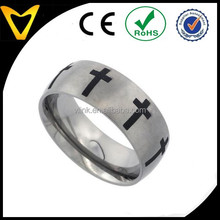 Egyptian Engagement Rings Titanium Band, 8MM Dome Black Titanium Wedding Band Crosses Matte Finish Ring Size 7-14