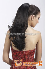 Synthetic long claw clip curly two-way-use ponytail pieces.