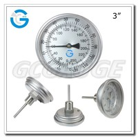 High Quality back connection type stainless steel bimetallic stemmed thermometer