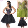 Strapless Short Black Sweetheart Nice Gem Beaded Ball Gown Tulle One Piece Girls Party Dresses
