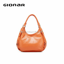Orange color soft leather hobo bag
