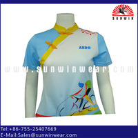 Woman fitted print polyester bicycle jersey cycling race shirt