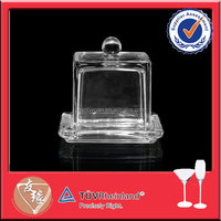 Machine made square glass butter dish with lid
