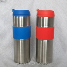 Stainless steel mug with silicine band