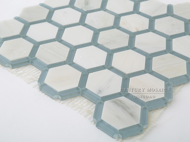 Bleu et blanc marbre m lange verre hexagone sol en for Carrelage hexagonal bleu