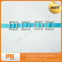 wholesale square shape rhinestone buckles for dress wedding invitations ribbon slider