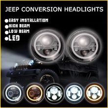 JK Wrangler Beam Moving Headlight, 7 inch Round Led Headlight 12v 24v, 45w Led driving headlight