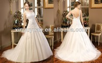 KS-022 sexy sheer backless gowns lace overlay enhancing ball gown wedding dress 2014