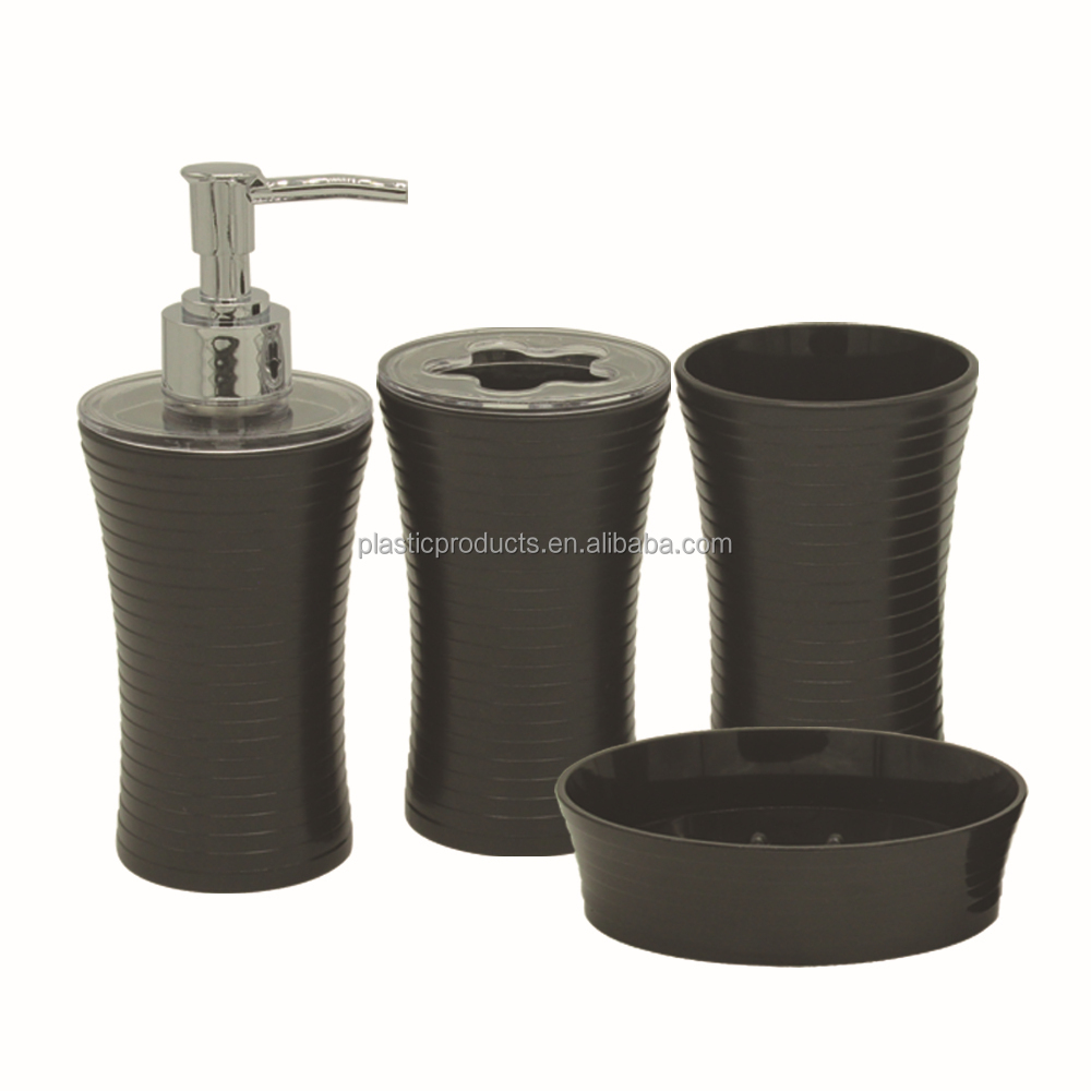 New design black plastic bathroom accessory sets uk buy for Black bath accessories sets