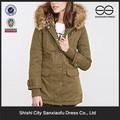 Nuevo 2016 por encargo largo Coat cuello de piel para mujeres, venta al por mayor de moda barata de invierno abrigo de mujer