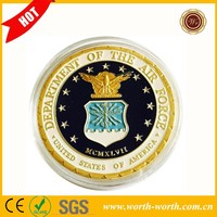 2015 Hot New Products U.S. Department Of The Air Force Colorful Pure Gold Plated Coin, Military Challenge Coin With Plastic Case