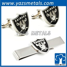 enamel metal tie clip cufflink set