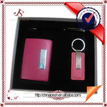 corporate gifts for ladies leahter key ring with name card holder pink gift set