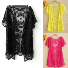 Instyles Latest Summer Hollow-Out Top Blouse Shirt Lace Embroidery Floral Crochet Blouse Short Sleeve Cardigan Z Clothing