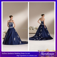 Custom Made Puffy Ball Gown Sexy Bare Back Strapless Lace Appliqued Taffeta Long Train Wedding Dresses Royal Blue Color (WD203)