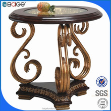 E-1130 Special antique carving metal and wooden home end table with top glass