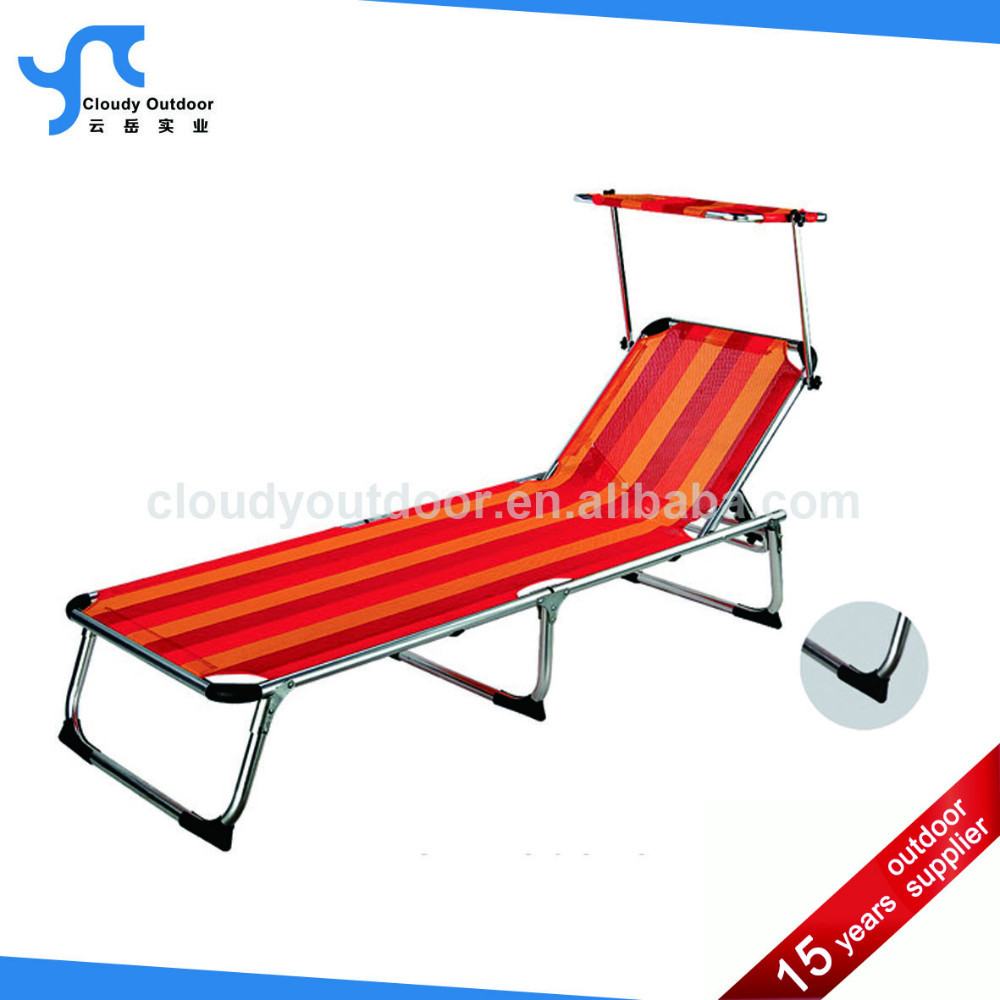 Aluminum Beach Lounge Chair Sun Folding Beach Canopy Bed