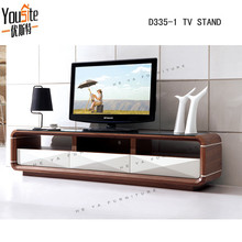 New design high gloss and wooden tv cabinet with black glass top