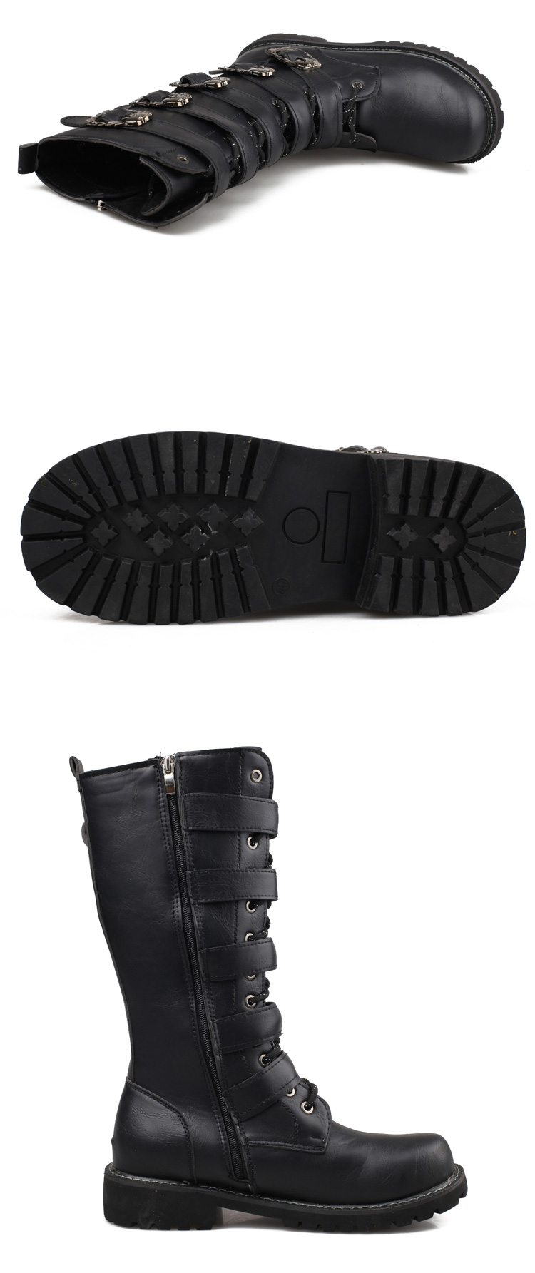 Fashion Plus Size High-top Men Boots Five Belt Buckle Decorative Male