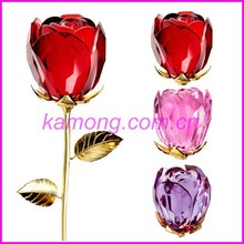customized thanksgiving decoration crystal crafts crystal rose flower for mother