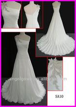 2014 guangzhou ivory modest beaded appliqued elegant chiffon one shoulder column/slim wedding dresses zipper back SA10