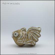 Online animal shape Clutch Style and rhinestone crystal wedding bag gold fish shape TFC1569