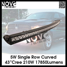 "9-30V Single Row Curved 43"" 210W Emergency Led Light Bar Off Road"