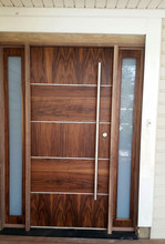 Beautiful Modern Walnut Front Door -Exterior Door with sidelites