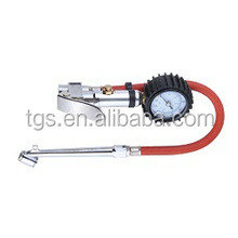 tire inflator with tire gauge and zinc -alloy tire chuck