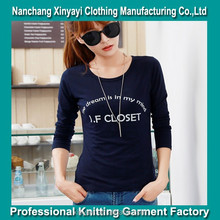Cheap Woman Cotton Long Sleeve Custom T Shirt Printing