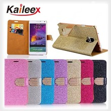 Stone Pattern Flip Leather Wallet Glitter Diamond Cell Phone Case For Samsung Galaxy Note 4 Leather Case With Card Slot