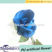 2015 más reciente material de la PU artificiales blue rose del brote de flor