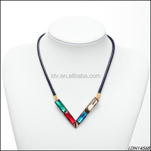 Braided Leather Belt Necklace 4 Rectangle Glass Gem V Shape Necklace Fashion