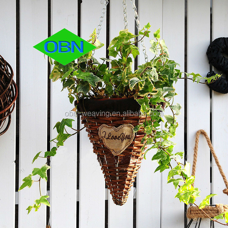 Cheap Hanging Baskets With Flowers : Hot sale wicker decor wholesale rattan flower basket