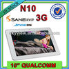 10 Inch Android Tablet PC Sanei N10 Quad Core Built in 3G 1280x800+ Phone Call+ GPS +Bluetooth