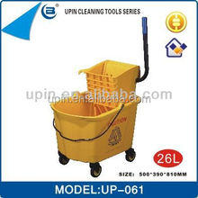 Hotel /Restaurant/Hospital cleaning trolley double mop bucket with squeezer